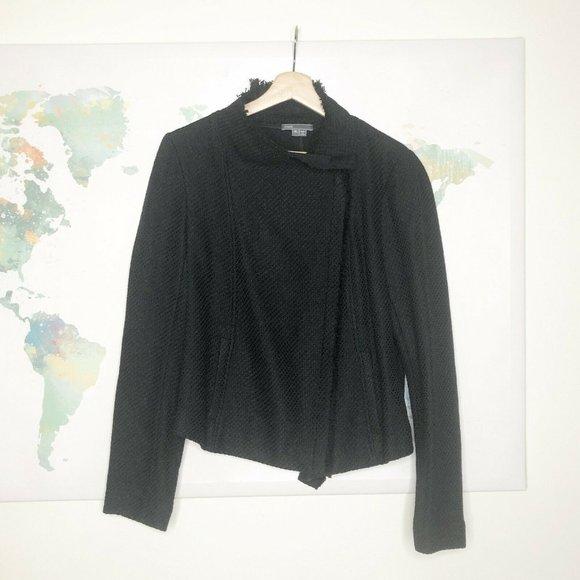 Vince Jackets & Blazers - Vince Frayed Edge Scuba Jacket Size XL Black Knit